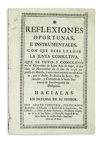 PHILIPPINES  TORRUBIA, JOSÉ; and PEDRO DE JESÚS. Reflexiones Oportunas, e Instrumentales.  Circa 1740?