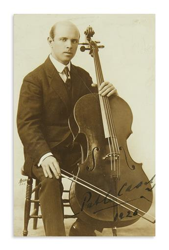 CASALS, PABLO. Two items, each Signed: Autograph Musical Quotation, from the prelude of J.S. Bachs Suite in C Major * Photograph.