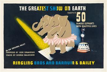 EDWARD MCKNIGHT KAUFFER (1890-1954). RINGLING BROS AND BARNUM & BAILEY / PRESENTS ITS 50 MOST FAMOUS ELEPHANTS. 1942. 19x28 inches, 49x