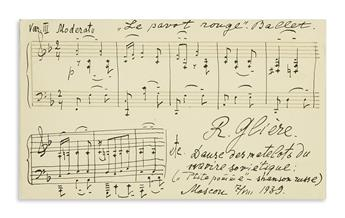 GLIÈRE, REINHOLD. Autograph Musical Quotation dated and Signed, R. Glière, 8 bars from Dance of the Sailors from the Soviet Ship in