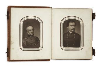 (EPHEMERA.) Album of small portrait engravings of Union and Confederate leaders in carte-de-visite format.