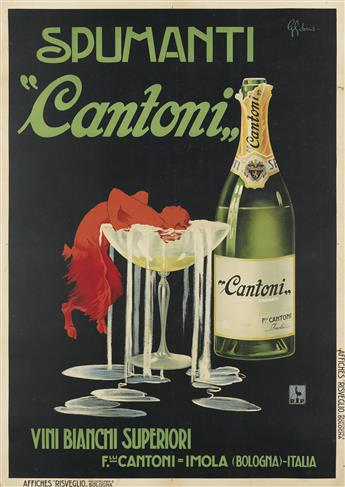 G. GIBUS (DATES UNKNOWN). SPUMANTI CANTONI. 1930. 54x39 inches, 137x99 cm. Affiches Risveglio, Bologna.
