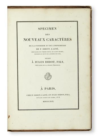 DIDOT, PIERRE. Specimen des Nouveaux Caractères de la Fonderie et de lImprimerie de P. Didot, laîné.  1819