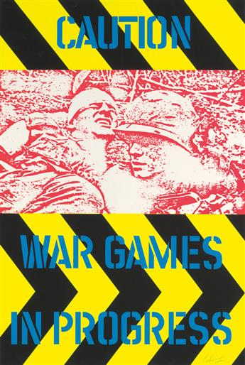 PETER GEE (1932-2005). CAUTION / WAR GAMES IN PROGRESS. 43x29 inches, 111x74 cm.