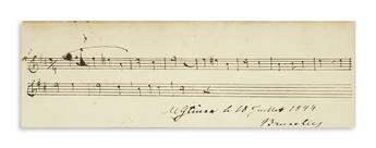 GLINKA, MIKHAIL IVANOVICH. Autograph Musical Quotation dated and Signed, MGlinka, 12 bars from an unnamed work,