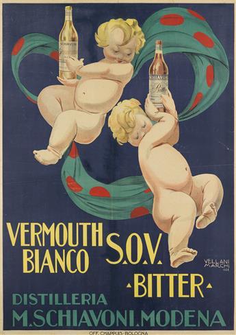 MARIO VELLANI MARCHI (1895-1979). VERMOUTH BIANCO S.O.V. BITTER. 1922. 54x38 inches, 137x98 cm. Chappuis, Bologna.