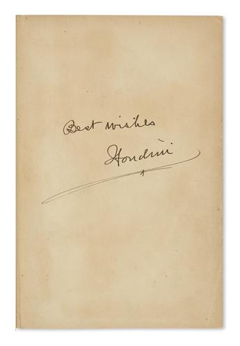 HOUDINI, HARRY. A Magician Among the Spirits. Signed twice, Houdini, and Inscribed on the front free endpaper: Best wishes.