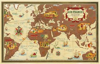 LUCIEN BOUCHER (1889-1971). AIR FRANCE / NOVA ET VETERA. 1939. 24x38 inches, 63x98 cm. Perceval, Paris.