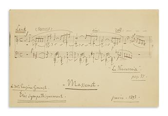 MASSENET, JULES. Autograph Musical Quotation Signed and Inscribed, à Mr. Eugène Gounst / trés sympathiquement / Massenet, 5 bars from