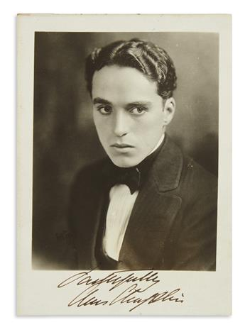 CHAPLIN, CHARLIE. Photograph Signed and Inscribed, Faithfully / Chas Chaplin,