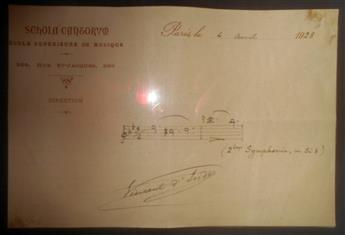 DINDY, VINCENT. Autograph Musical Quotation dated and Signed, 2 bars from his Symphony No. 2 in B flat,