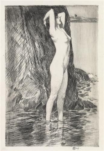 CHILDE HASSAM Swimmer, Morning--Facing Water.