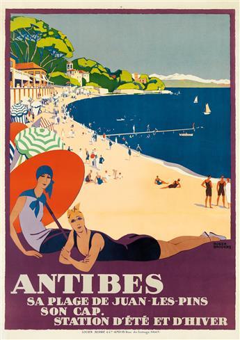 ROGER BRODERS (1883-1953). ANTIBES. Circa 1928. 42x30 inches, 108x76 cm. Lucien Serre & Cie., Paris.