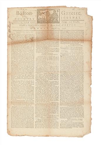 (AMERICAN REVOLUTION--1777.) The Boston-Gazette and Country Journal.