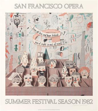 DAVID HOCKNEY (1937- ). SAN FRANCISCO OPERA / SUMMER FESTIVAL SEASON. 1982. 38x34 inches, 98x86 cm. Petersburg Press, [London.]