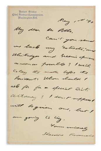 WHOM SHOULD I ASK FOR A SPECIAL DIST. ATTORNEY? THEODORE ROOSEVELT. Autograph Letter Signed, as Governor, t...