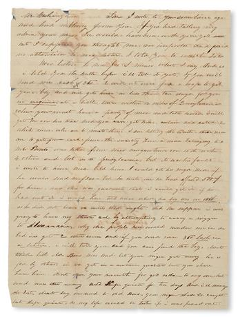 (SLAVERY AND ABOLITION--MOUNT VERNON.) WASHINGTON, JOHN AUGUSTINE. An abortive Effort to Take Me In