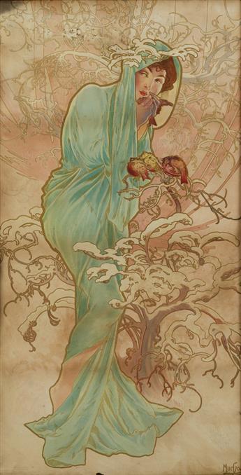 ALPHONSE MUCHA (1860-1939). [THE SEASONS / WINTER.] 1896. 38x19 inches, 98x48 cm.