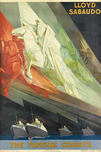 GIUSEPPE RICCOBALDI DEL BAVA (1887-1976). LLOYD SABAUDO / THE FAMOUS COUNTS. 1928. 38x25 inches, 98x65 cm. Barabino & Graeve, Genova.