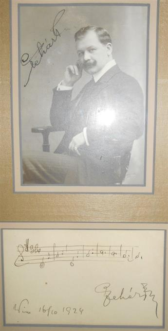 LEHÁR, FRANZ. Two items, each Signed, LeharF: Autograph Musical Quotation * Photograph.