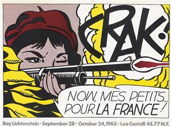 ROY LICHTENSTEIN (1923-1997). CRAK! / NOW, MES PETITS . . . POUR LA FRANCE! 1963. 21x28 inches, 53x72 cm. Total Color, New York.