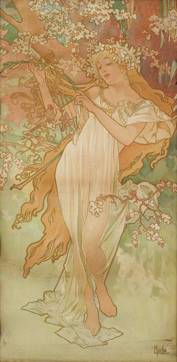 ALPHONSE MUCHA (1860-1939). [THE SEASONS / SPRING.] 1896. 38x19 inches, 98x48 cm.