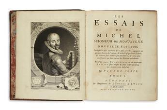 MONTAIGNE, MICHEL EYQUEM DE. Les Essais . . . Nouvelle Édition.  3 vols.  1724