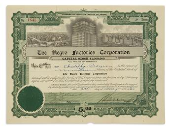 GARVEY, MARCUS. Partly-printed Document Signed, as President of the Negro Factories Corporation,