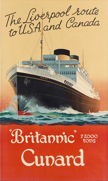 CHARLES E. TURNER (1883-1965). BRITANNIC CUNARD / THE LIVERPOOL ROUTE TO U.S.A. AND CANADA. Circa 1950. 38x23 inches, 97x59 cm.