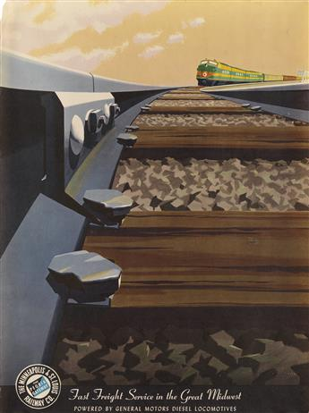 BERN HILL (1911-1977). FAST FREIGHT SERVICE IN THE GREAT MIDWEST. Circa 1950s. 23x18 inches, 60x45 cm.