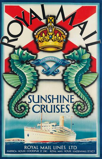 SHEP (CHARLES SHEPHERD, 1892-?). ROYAL MAIL / SUNSHINE CRUISES. 1937. 37x24 inches, 95x62 cm. [The Baynard Press, London.]