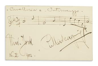MASCAGNI, PIETRO. Two items, each Signed, PMascagni: Autograph Musical Quotation, Intermezzo from his Cavalleria Rusticana * Photogra