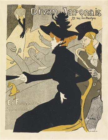 HENRI DE TOULOUSE-LAUTREC (1864-1901). DIVAN JAPONAIS. Maîtres de lAffiche pl. 2. 1896. 15x11 inches, 39x28 cm. Chaix, Paris.