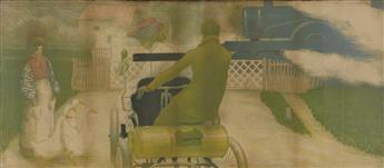 ALFREDO MÜLLER (1869-1940). [TRAIN CROSSING.] 1903. 22x51 inches, 57x129 cm.