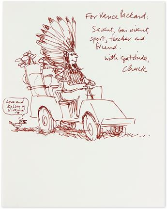 SAXON, CHARLES. Honesty is One of the Better Policies. Ink drawing, Inscribed and Signed, Chuck,