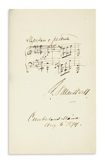 MACDOWELL, EDWARD ALEXANDER. Autograph Musical Quotation dated Signed, E.A. MacDowell, 3 bars from an unnamed work,