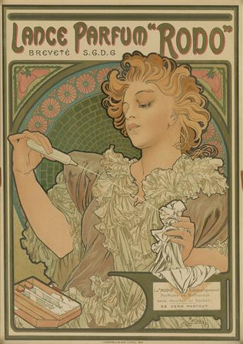ALPHONSE MUCHA (1860-1939). LANCE PARFUM RODO. 1896. 17x12 inches, 44x31 cm. F. Champenois, Paris.