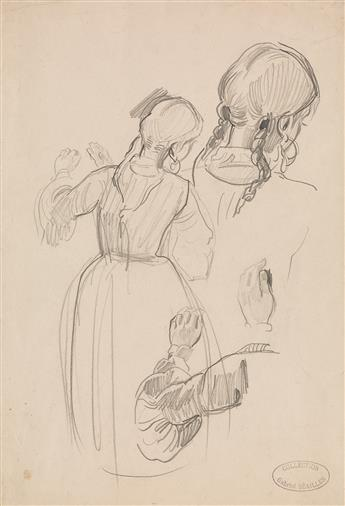 ALFRED DEHODENCQ (Paris 1822-1882 Paris) Sheet of Studies of a Young Woman with Braided Hair, seen from behind.