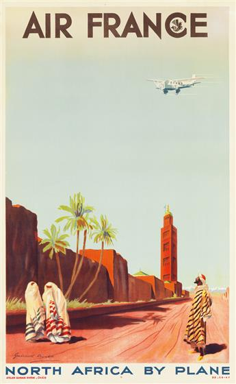 MAURICE GUIRAUD-RIVIÈRE (1881-1967). AIR FRANCE / NORTH AFRICA BY PLANE. 1934. 39x24 inches, 100x62 cm.