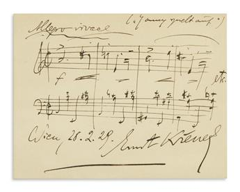 KRENEK, ERNST. Autograph Musical Quotation dated Signed, 4 bars from his Jonny spielt auf,