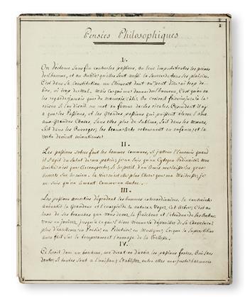 MANUSCRIPT.  Pensées Philosophiques de Mr. [Denis] D[iderot].  Manuscript in French on paper.  Mid-later 18th century