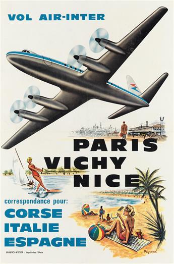 PAYRARD (DATES UNKNOWN). VOL AIR - INTER / PARIS VICHY NICE. Circa 1960. 23x15 inches, 59x39 cm. Havas-Vichy, Paris.