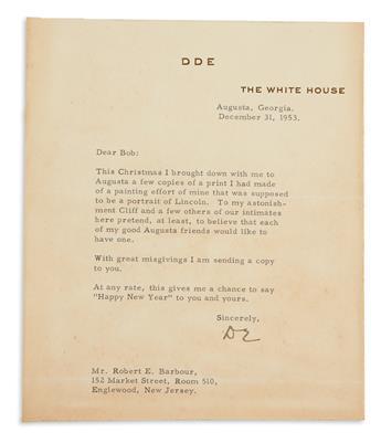 EISENHOWER, DWIGHT D. Typed Letter Signed, DE, as President,