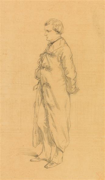 PAUL GAVARNI (Paris 1804-1866 Neuilly-Auteuil-Passy) Portrait of a Man, Standing in Profile (Henri Monnier).