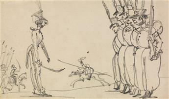 CARLE VERNET (Bordeaux 1758-1836 Paris) A Caricature of the French Army, with an Officer Reviewing the Troops.