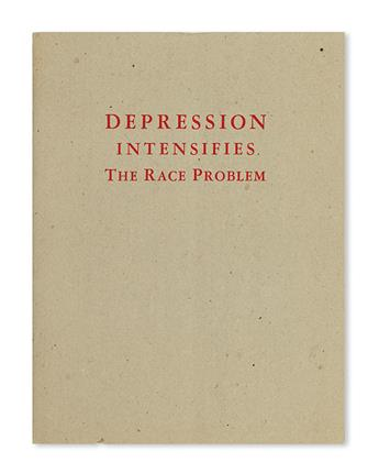 (CIVIL RIGHTS--LYNCHING.) COMMISSION ON INTERRACIAL COOPERATION. Depression Intensifies the Race Problem.