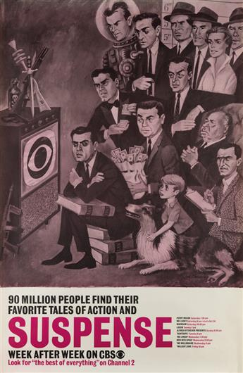 JOE KAUFMAN (1911-?). ENTERTAINMENT ON CBS. Group of 8 posters. Circa 1959. Each 45x29 inches, 115x75 cm.