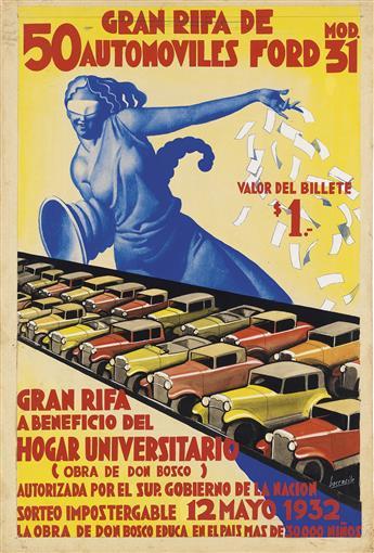 GINO BOCCASILE (1901-1952). 50 GRAN RIFA DE AUTOMOVILES FORD. Gouache maquette. 1932. 30x21 inches, 77x53 cm.