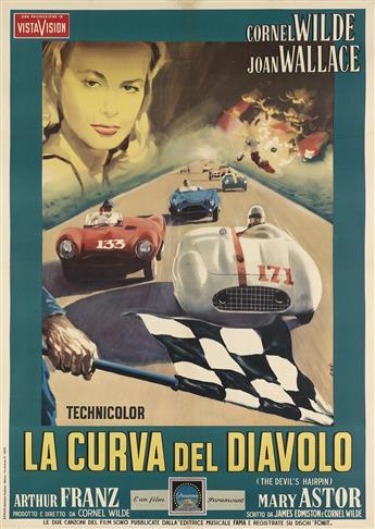 ENZO NISTRI (DATES UNKNOWN). LA CURVA DEL DIAVOLO. 1958. 55x39 inches, 139x99 cm. Ripalta, Milan.