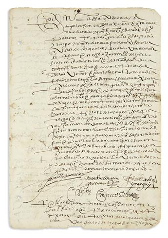 (MEXICAN MANUSCRIPTS.) Testimony from a conquistadors heir over the will of a founder of Puebla City.